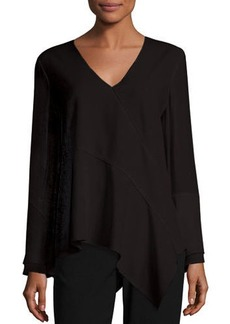 Elie Tahari Reeva Long-Sleeve Seamed Knit Blouse