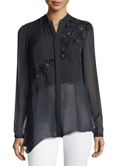 Elie Tahari Remeleen Floral-Applique Silk Blouse