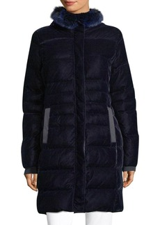Elie Tahari Roberta Fox Fur Trim Quilted Velvet Coat