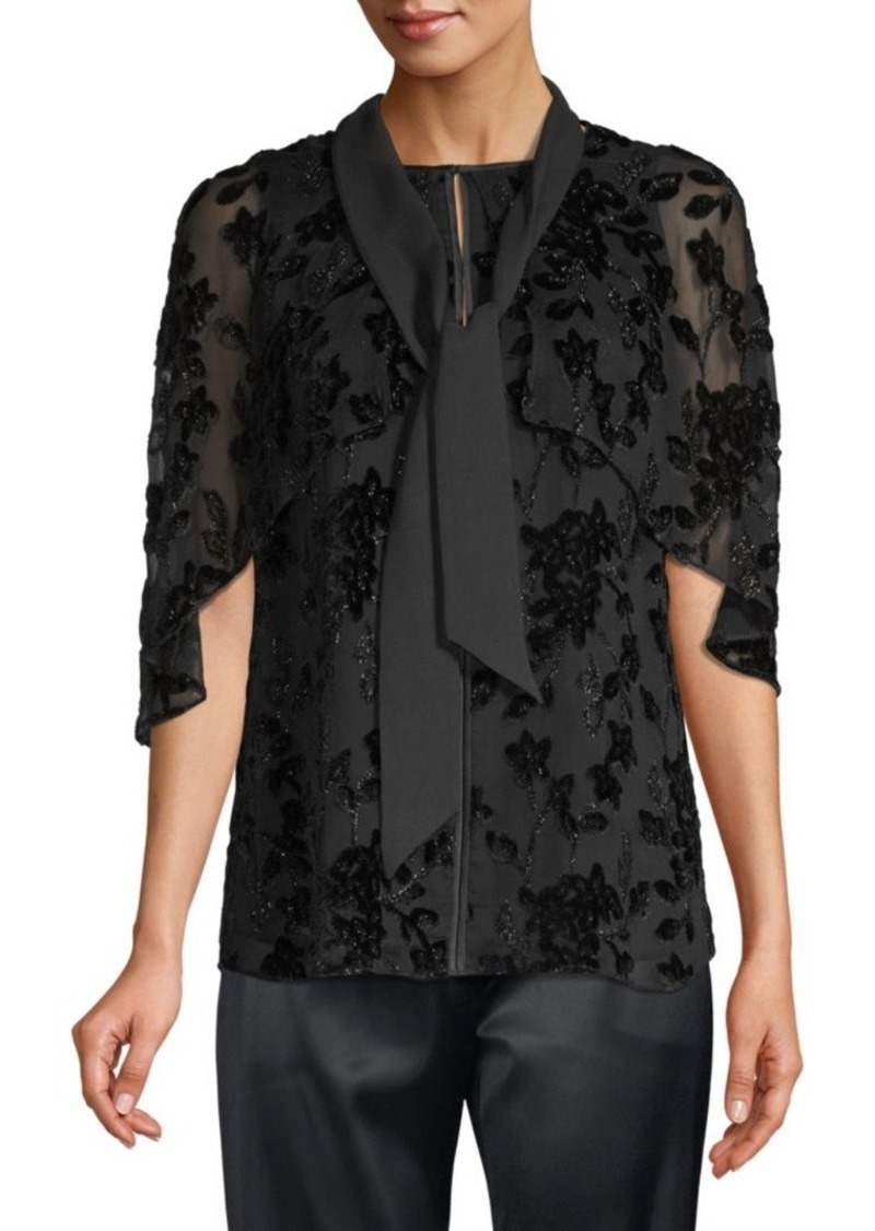 Elie Tahari Rory Silk-Blend Burnout Blouse