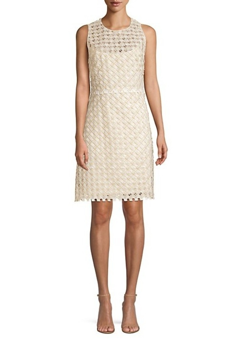 Elie Tahari Rosaleen Embroidered Basket Weave Dress