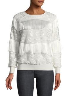Elie Tahari Roslyn Fringed-Trim Sweater