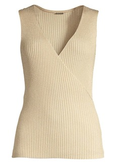 Elie Tahari Rudie V-Neck Rib-Knit Sleeveless Sweater