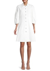 Elie Tahari Rumer Twill Button Dress