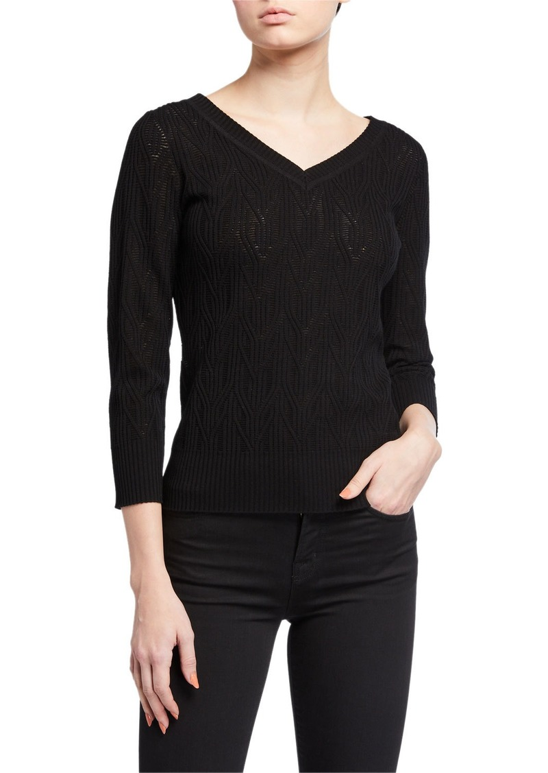 Elie Tahari Rumi V-Neck Knit Sweater