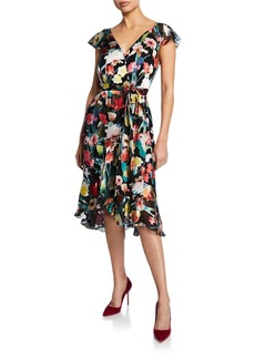 Elie Tahari Ryder Floral-Print V-Neck Cap-Sleeve Dress