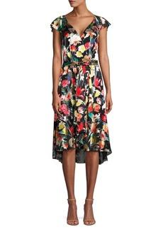 Elie Tahari Ryder Floral Silk-Blend Flounce Dress