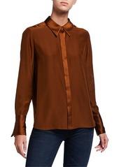 Elie Tahari Safiya Long-Sleeve Button-Down Silk Blouse