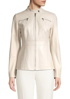 Elie Tahari Sage A-line Leather Jacket