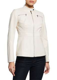 Elie Tahari Sage Zip-Front Leather Moto Jacket