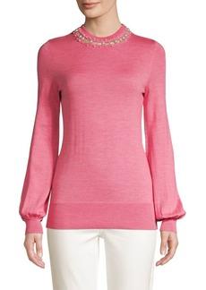 Elie Tahari Sahar Embellished Merino Wool Sweater
