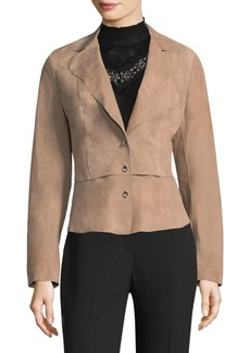 Elie Tahari Sally Notched-Lapel Leather Blazer