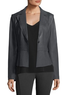 Elie Tahari Sally Topstitched Leather Jacket