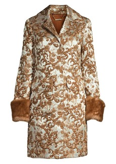 Elie Tahari Sampson Matelassé Jacquard Fur Cuff Coat
