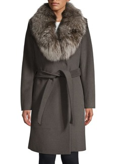 Elie Tahari Sasha Fox Fur Collar Wrap Coat