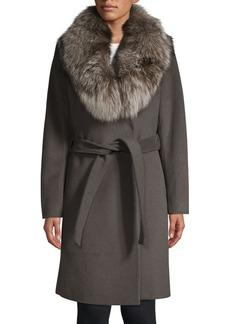 Elie Tahari Sasha Fox Fur Collar Wrap Coat