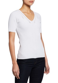 Elie Tahari Savannah Ribbed V-Neck Short-Sleeve Sweater