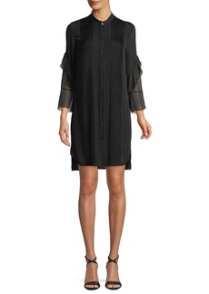 Elie Tahari Sawyer Ruffled Silk Shirt Dress