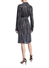 Elie Tahari Saxon Geometric Stripe Long-Sleeve Belted Wrap Dress
