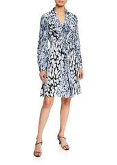 Elie Tahari Saxton Abstract Long-Sleeve Georgette Dress