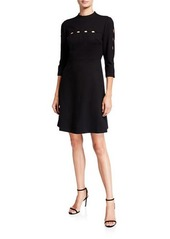 Elie Tahari Senna 3/4-Sleeve A-Line Dress with Cutout Details