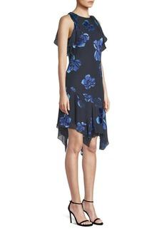 Elie Tahari Serenity Floral Handkerchief-Hem Dress