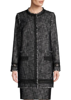 Elie Tahari Shanie Long Tweed Coat