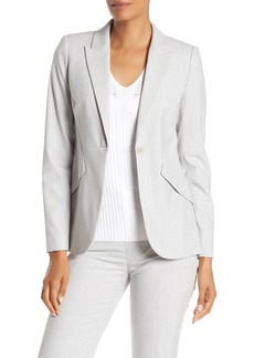Elie Tahari Sharkskin Peak Lapel One Button Blazer