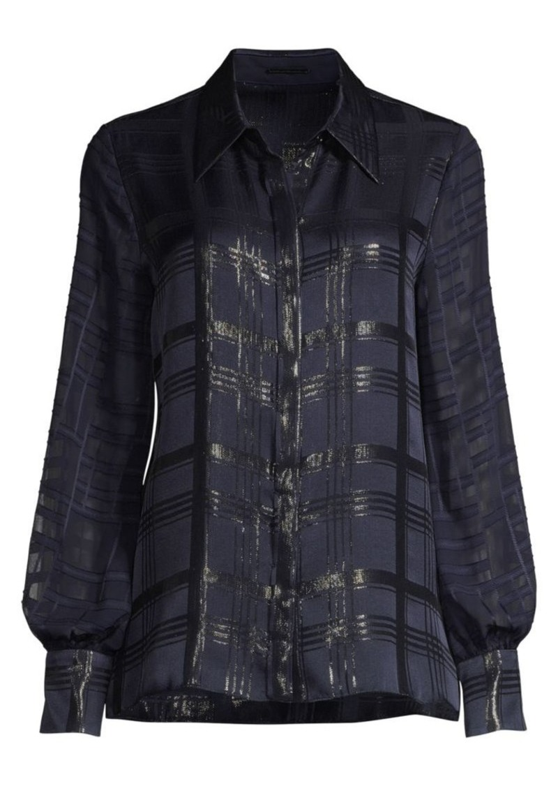 Elie Tahari Shauna Lurex Plaid Blouse