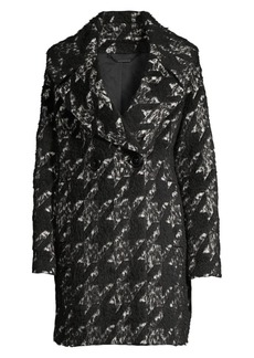 Elie Tahari Shiloh Oversized Houndstooth Double-Breasted Wool-Blend Trench Coat