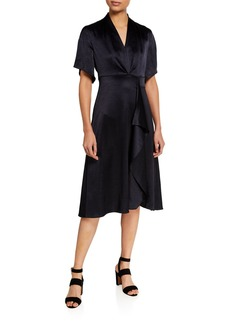 Elie Tahari Shiran Short-Sleeve Satin Dress