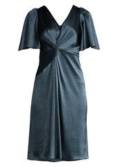 Elie Tahari Silvana Twist-Front Satin Dress