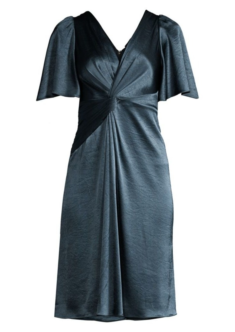 Elie Tahari Silvana Twist-Front Satin Dress