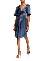 Elie Tahari Silvana V-Neck Elbow-Sleeve Satin Cocktail Dress