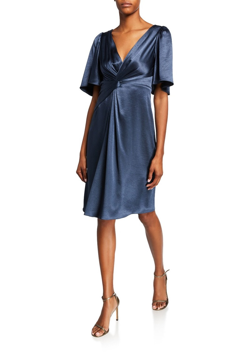 Elie Tahari Silvana V-Neck Elbow-Sleeve Satin Cocktail Dress