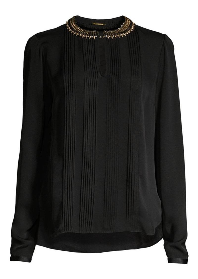 Elie Tahari Sima Studded Collar Pintucked Silk Blouse