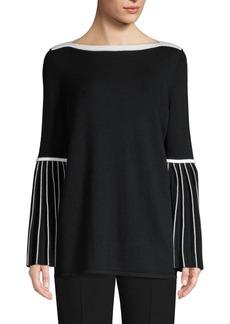 Elie Tahari Simcha Merino Contrast Trim Sweater