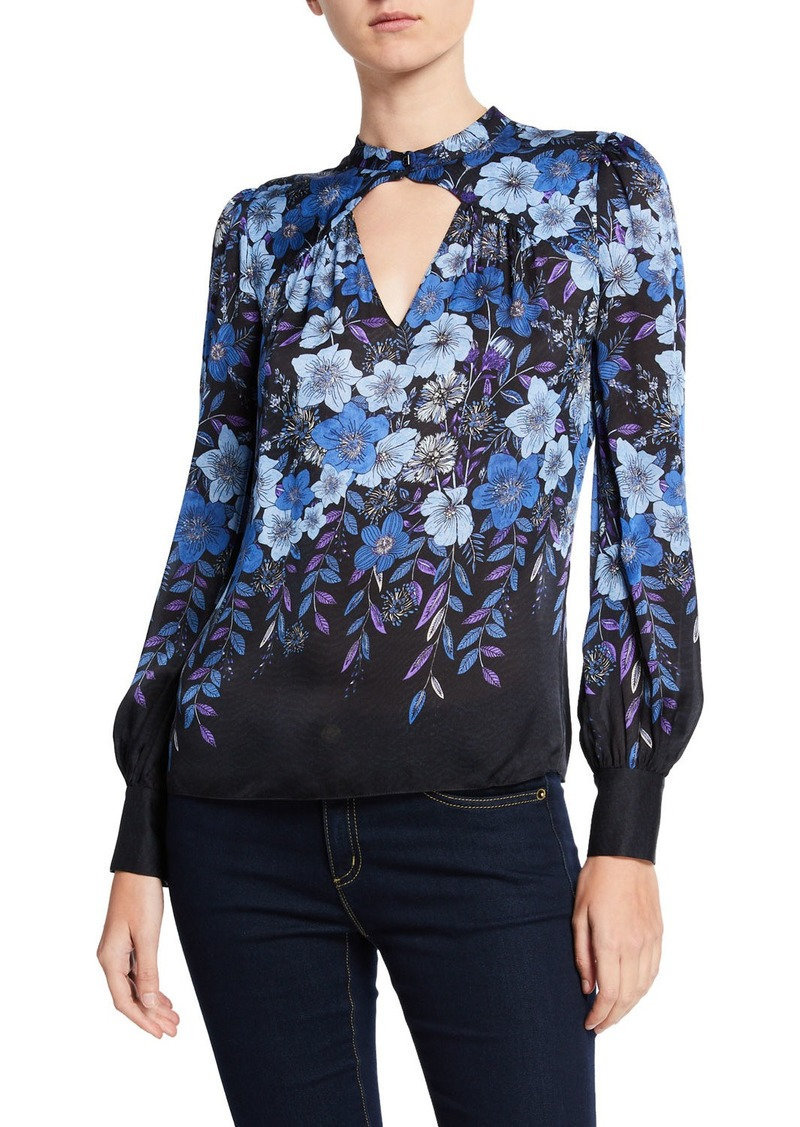 Elie Tahari Siobhan Floral Long-Sleeve Keyhole Blouse