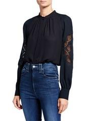 Elie Tahari Slate Button-Down Eyelet Sleeve Silk Shirt