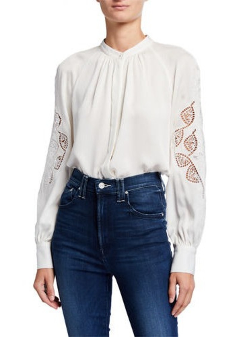 Elie Tahari Slate Button-Down Eyelet Sleeve Silk Shirt
