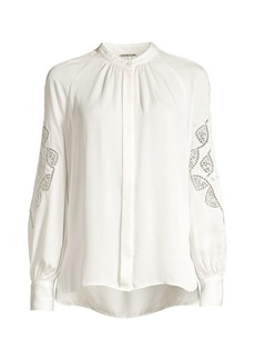 Elie Tahari Slate Lace Eyelet Silk Shirt