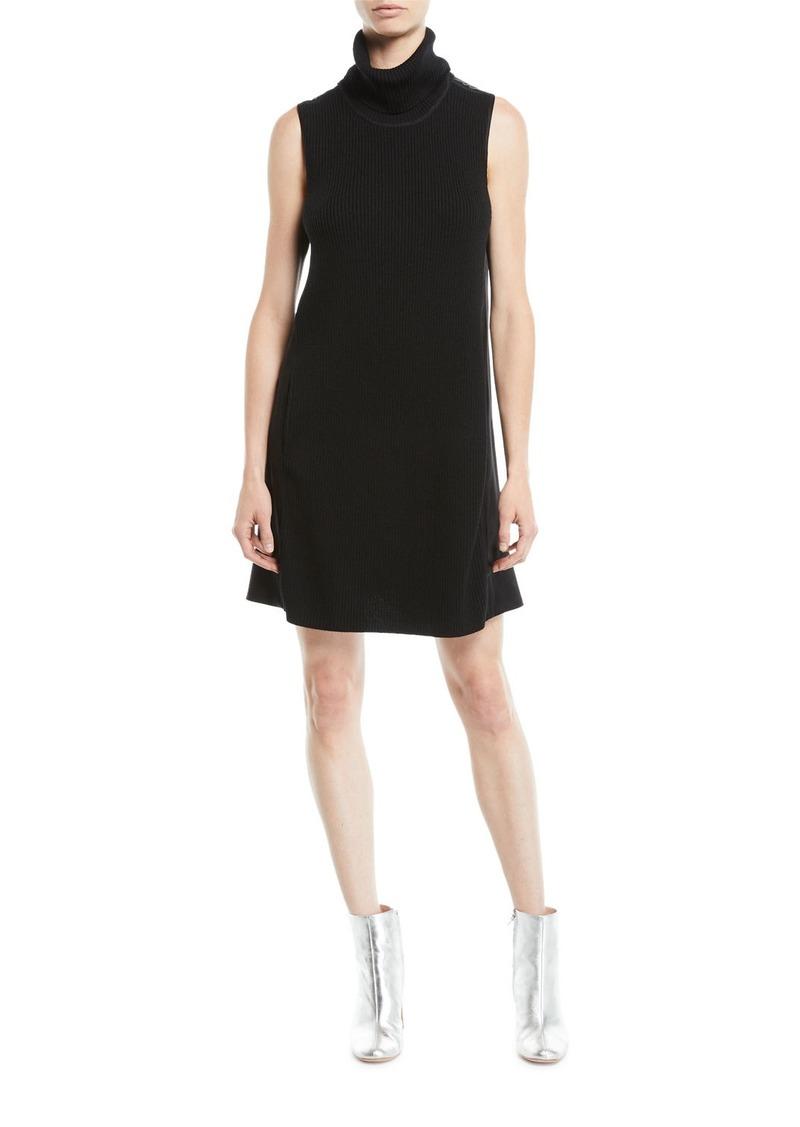 Elie Tahari Sonya Turtleneck Sleeveless Merino Wool Satin-Back A-Line Dress