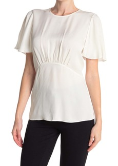 Elie Tahari Sri Smocked Back Silk Blouse