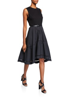 Elie Tahari Stephanie Crewneck Sleeveless Belted Fit-and-Flare Dress