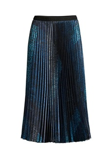 Elie Tahari Sue Animal-Print Pleated Midi Skirt