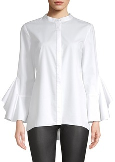 Elie Tahari Sukie Fluted Sleeve Poplin Blouse
