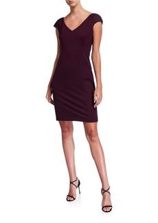Elie Tahari Suzy V-Neck Cap-Sleeve Ponte Dress