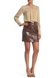 Elie Tahari Tammy Snake Embossed Leather Mini Skirt