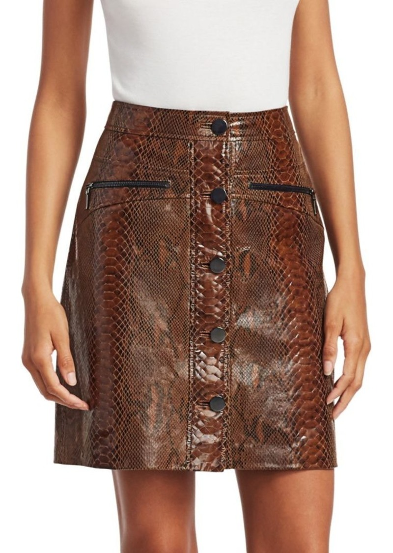 Elie Tahari Tammy Snakeskin Embossed Leather Skirt