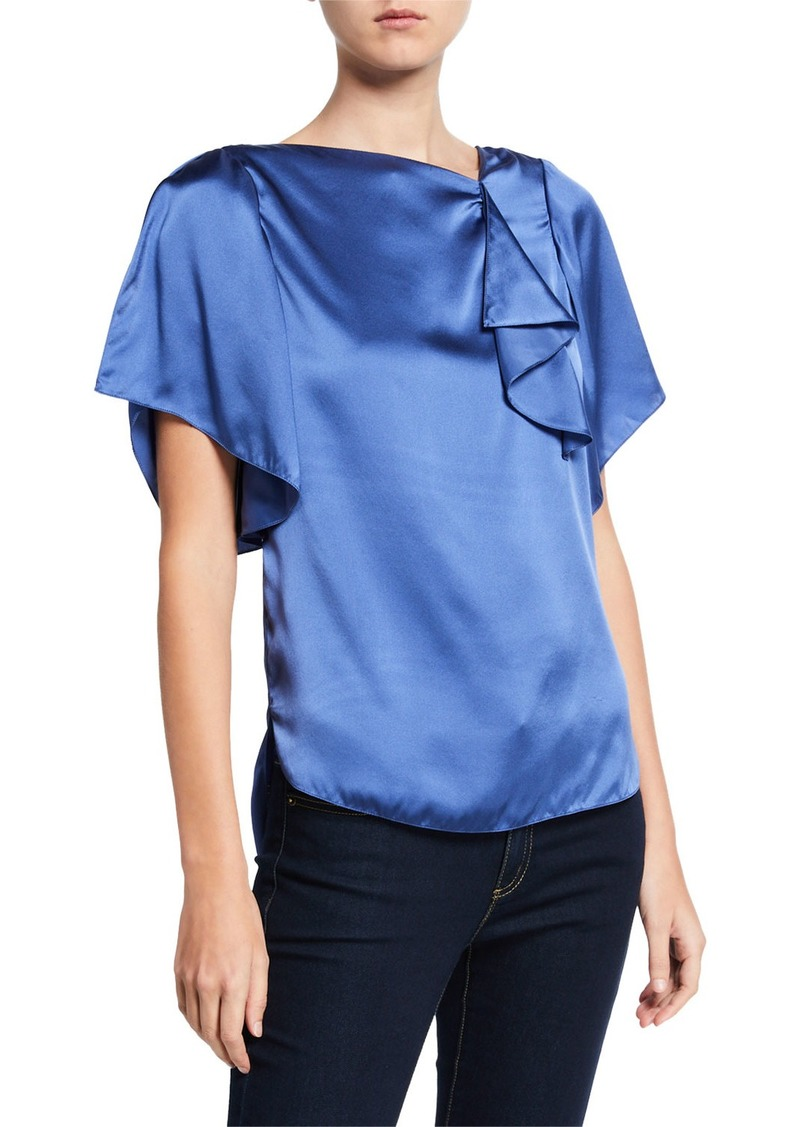 Elie Tahari Tamra High-Neck Short-Sleeve Silk Satin Blouse